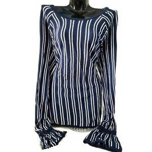 HINGE Blue Stripe Bell Wrist Long Sweater Top